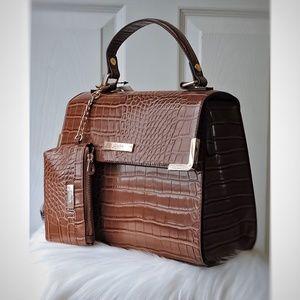 Brown Croc Pattern Dune London Satchel Handbag